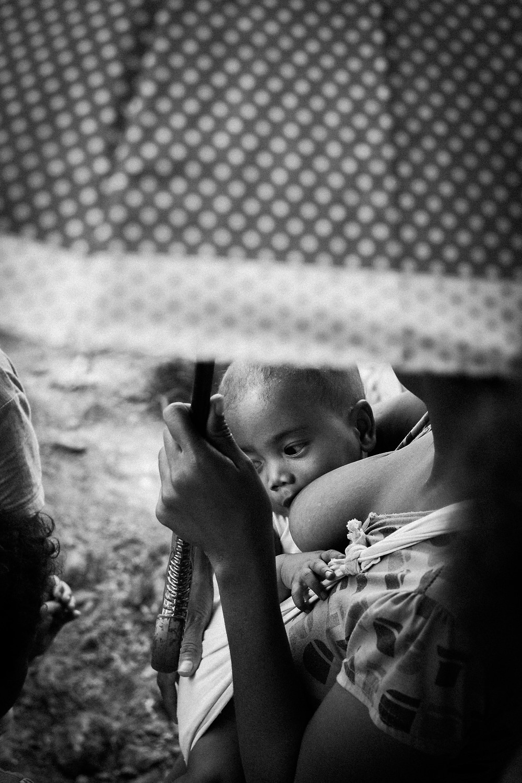 woman breastfeeding in public