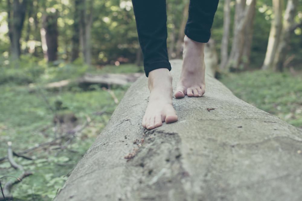 bare feet balancing