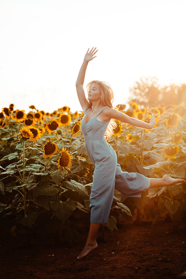 dancing, movement, stretching, yoga, woman, sunflowers, blooming