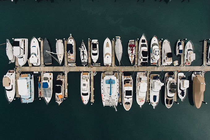 Boats on Slips from Aerial View