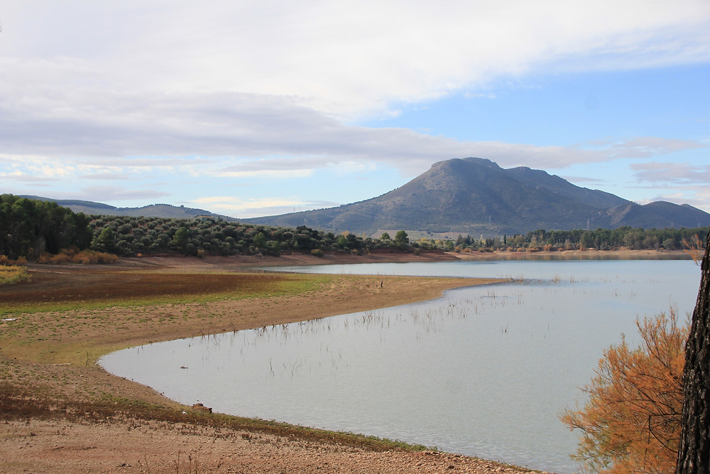 Decreasing water levels of lakes and reservoirs during droughts.