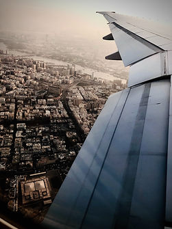 Dubai skyline aircraft travel