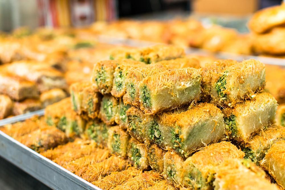 Stacks of Israeli cuisine pistachio baklava