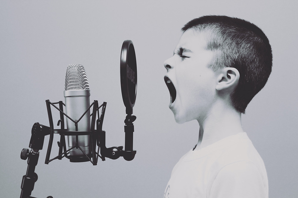 sound of own voice kid child yelling microphone JAWBREAKING