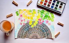 Mandala watercolor, 1/2 circle, flowers atop, Photo by Swati H. Das