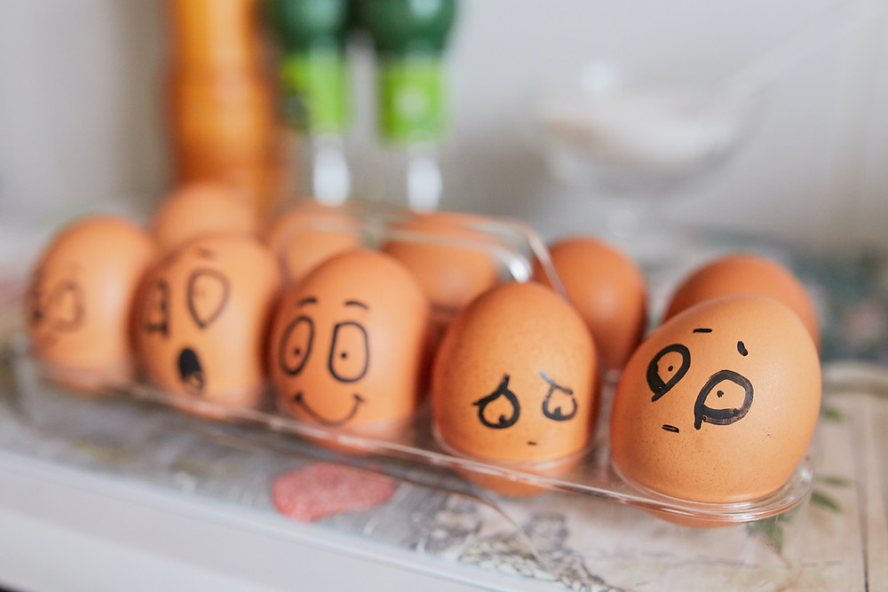Eggs with emotional faces
