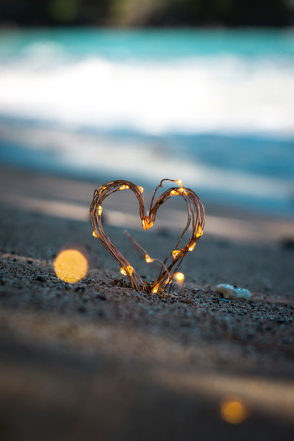 A heart glowing with lights.