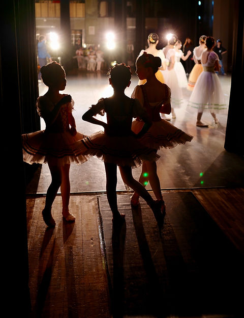 Young girls waiting to perform ballet