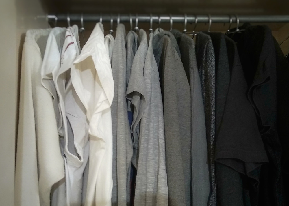 Clothes sorted from white to black