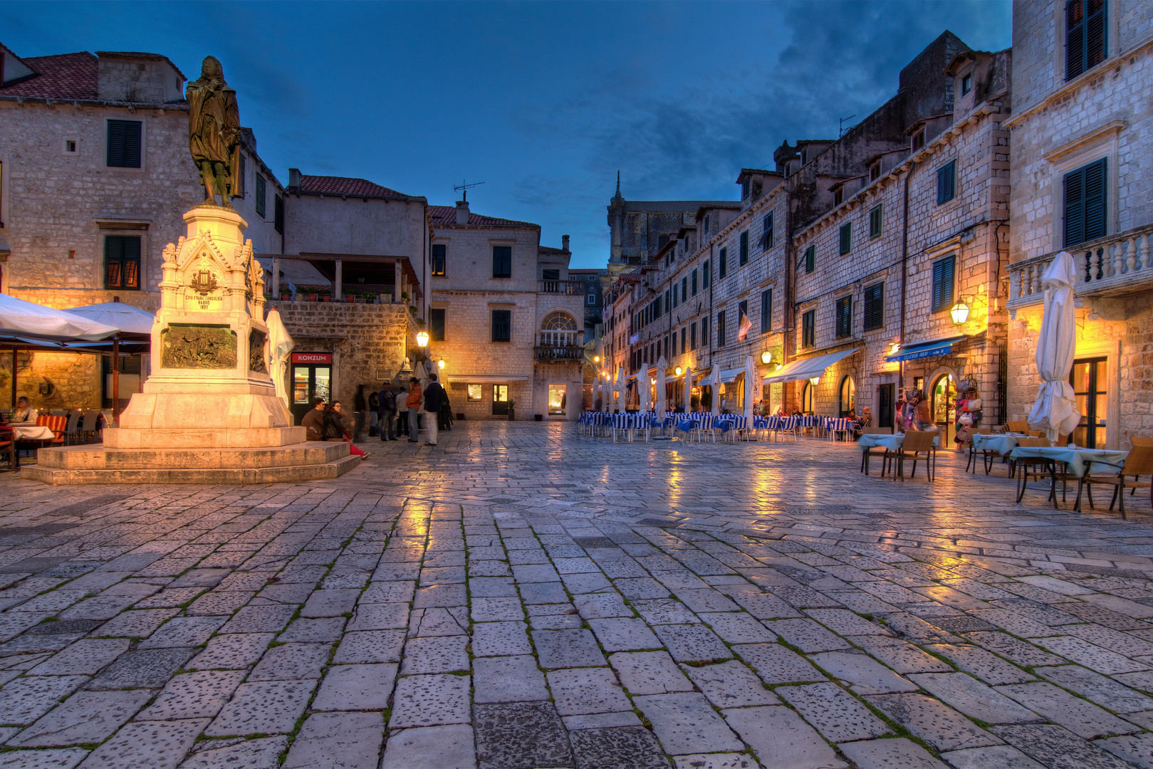 Old Dubrovnik square with restaurants