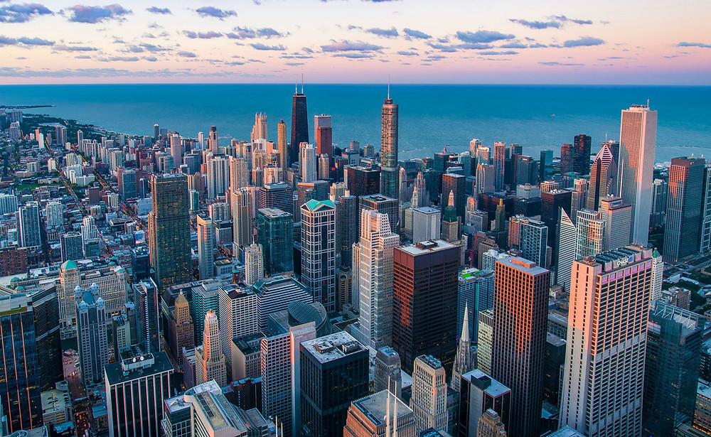 skyline of Chicago and Lake Michigan