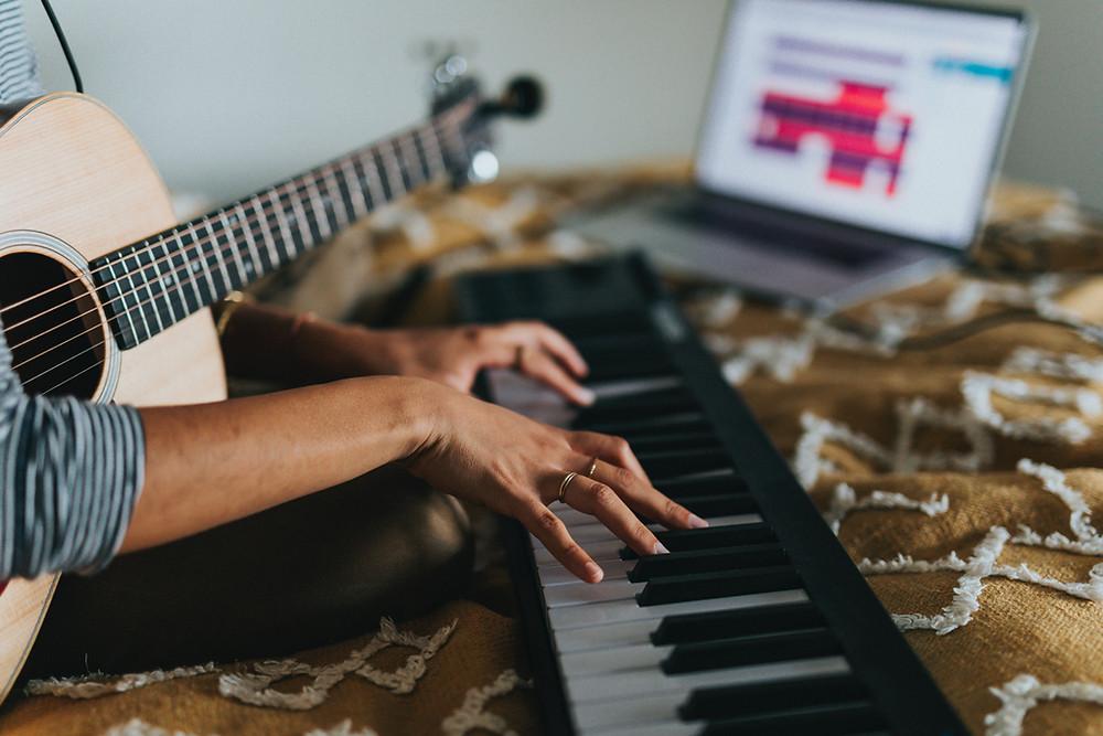 Someone playing on a keyboard