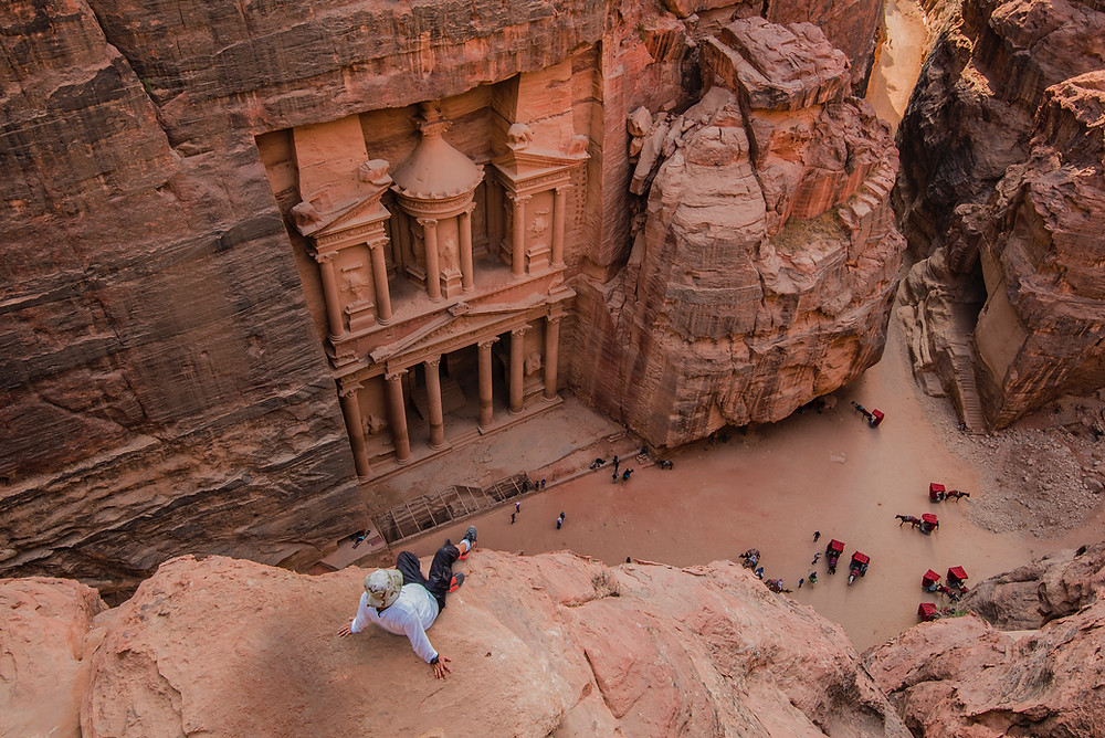 travel bucket list idea to see petra, one of the seven world wonders