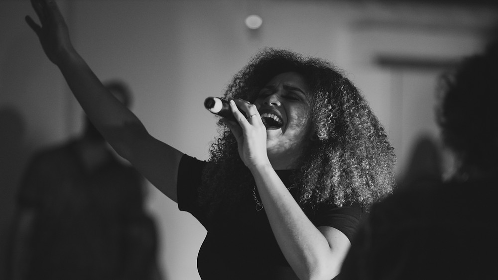 Black and white of a female singer
