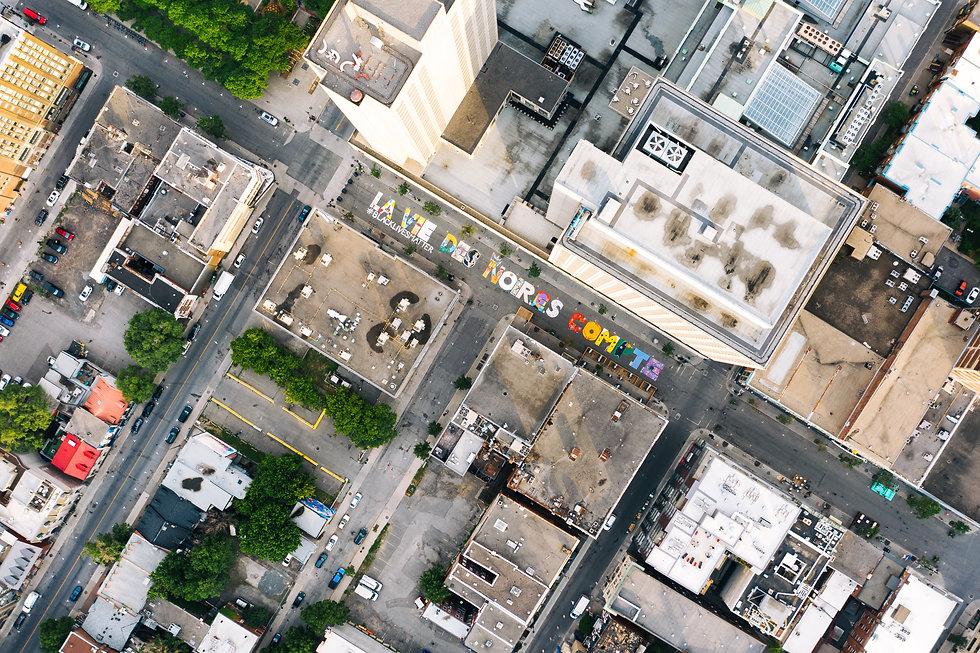 Global #BLACKLIVES MATTER ariel view of street mural