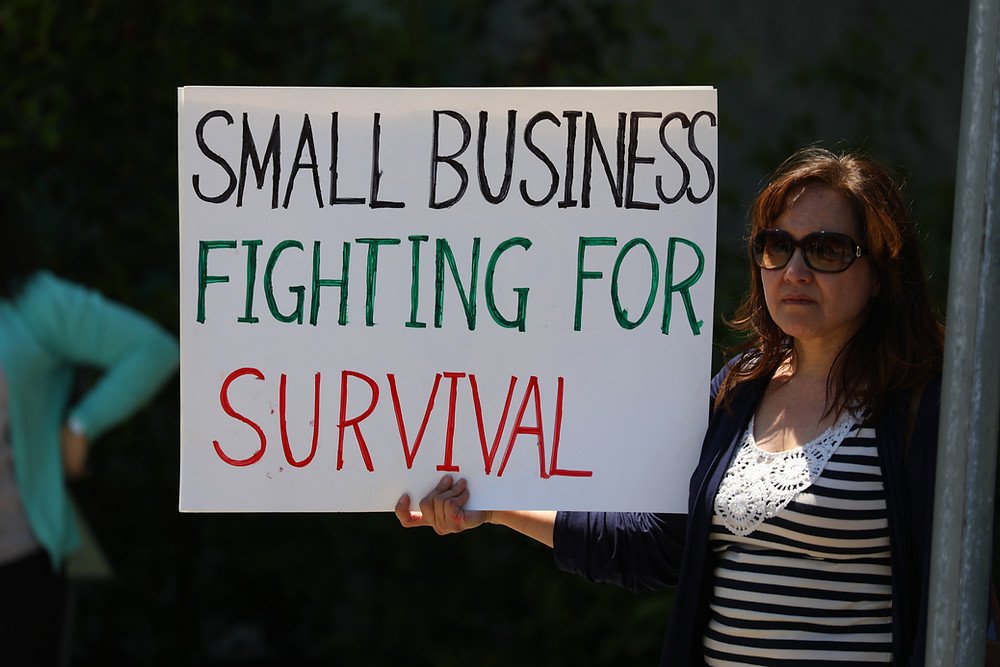 Person holding a sign that says 'Small Business fighting for survival'