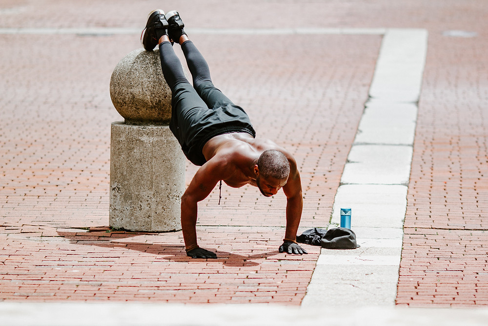 Man doing elevated pushups
