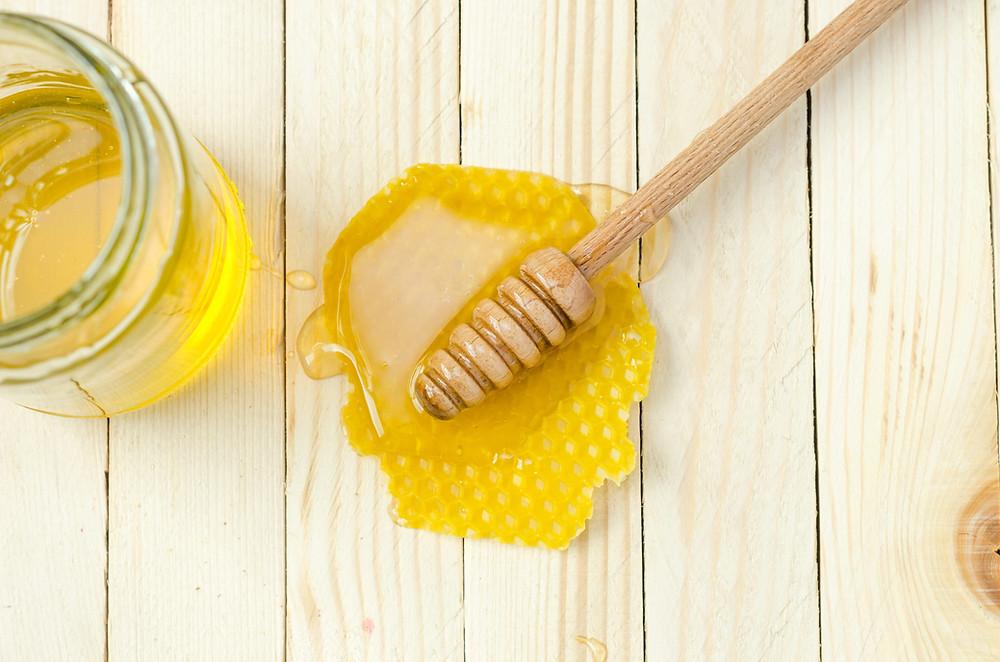 Fresh Raw Honey, Honey Dipper, Honeycomb, Jar of Honey,