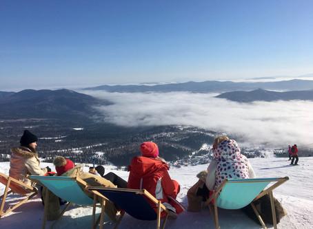 Ski bikini ride in Sheregesh
