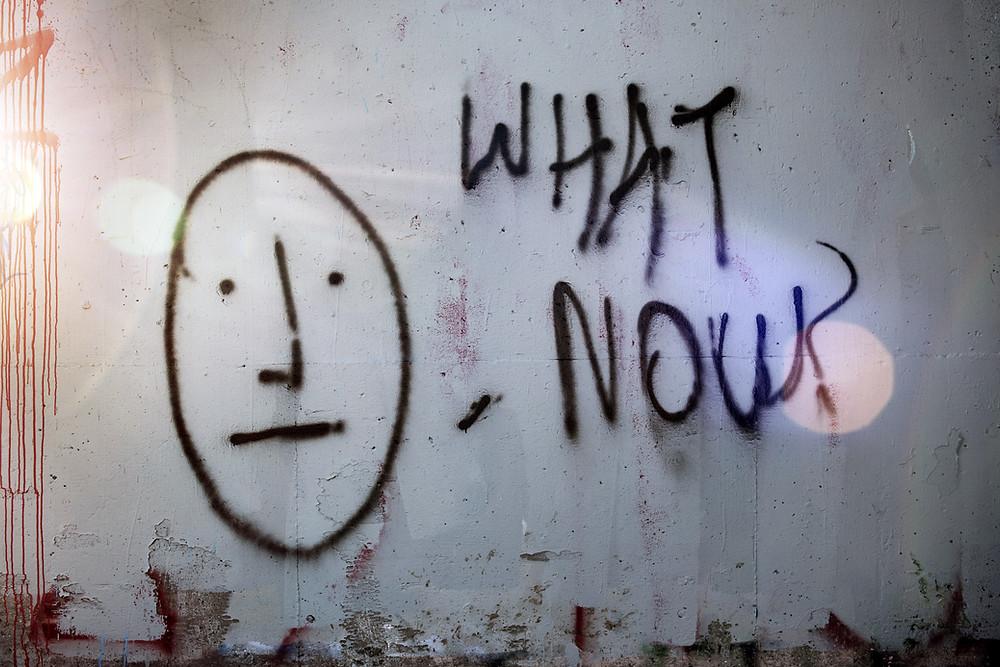 "Graffiti - stick figure, ""what now?"""