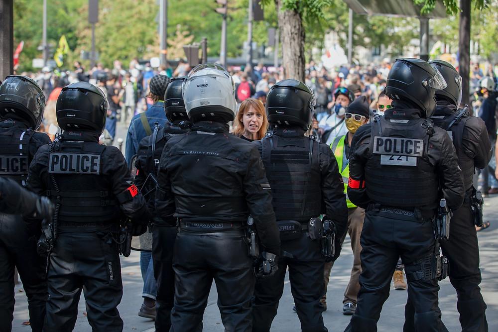 police line at protest demonstration