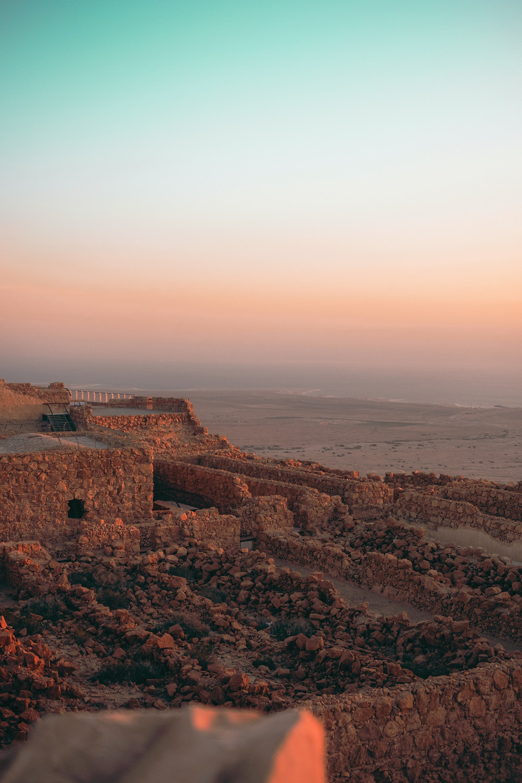 The top of Masada at sunrise