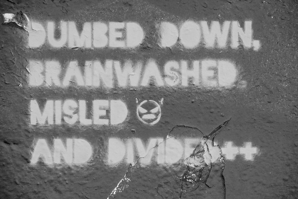 dumbed down, brainwashed, misled, and divided