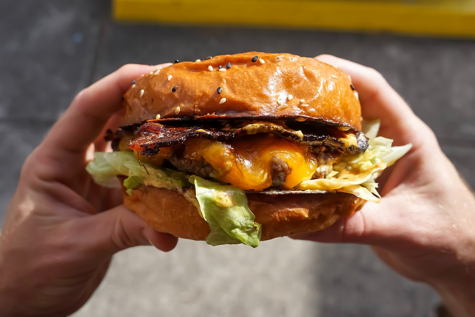 Picture of an unhealthy looking beef burger