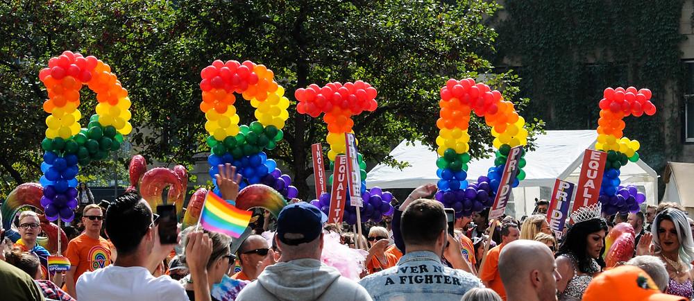 pride balloons in demonstration