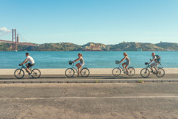 Cycling Tagus river Lisbon bridge