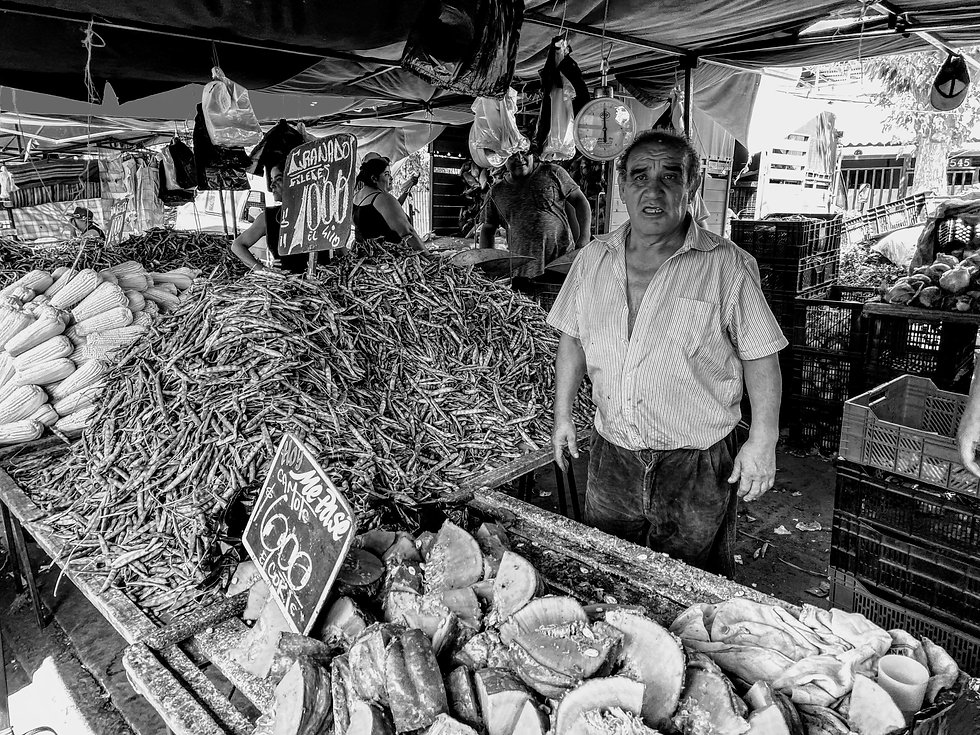 Market Black and White With Seller
