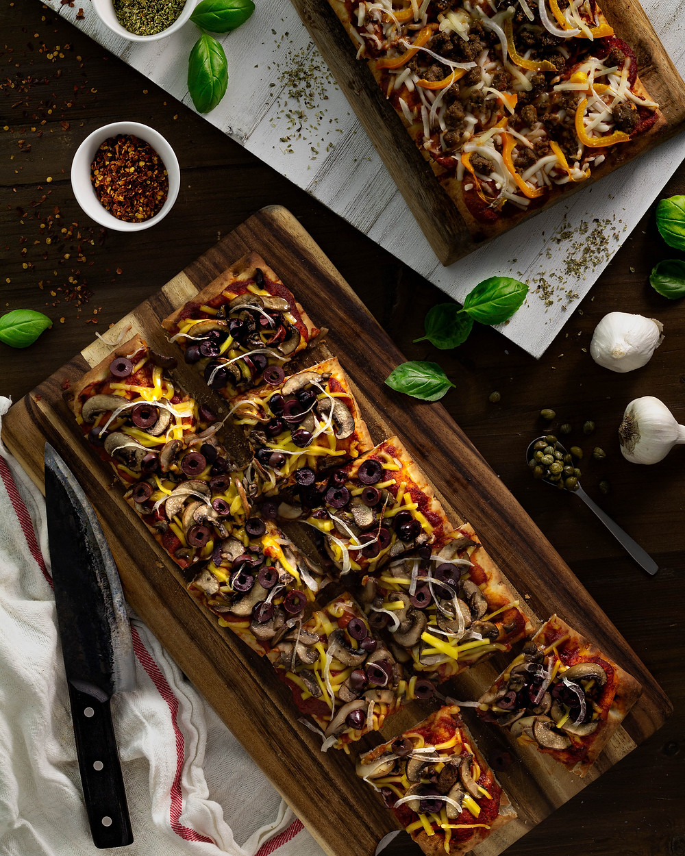 Pizza squares on cutting board