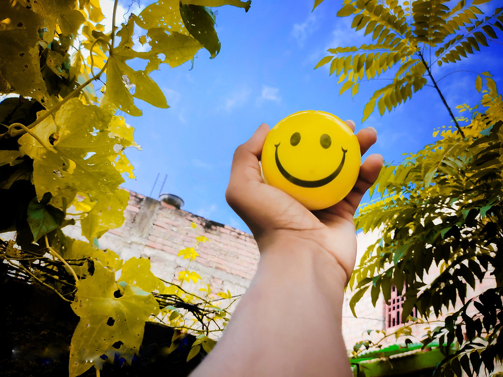 a hand holding a yellow smiling face ball to the ky - surrounded by trees - symbolizing happiness