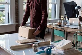 Man preparing a package