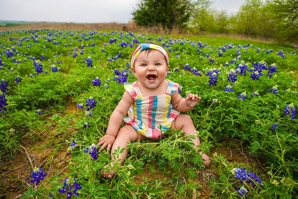 Toddler in colourful clothes sitting in purple wildflowers