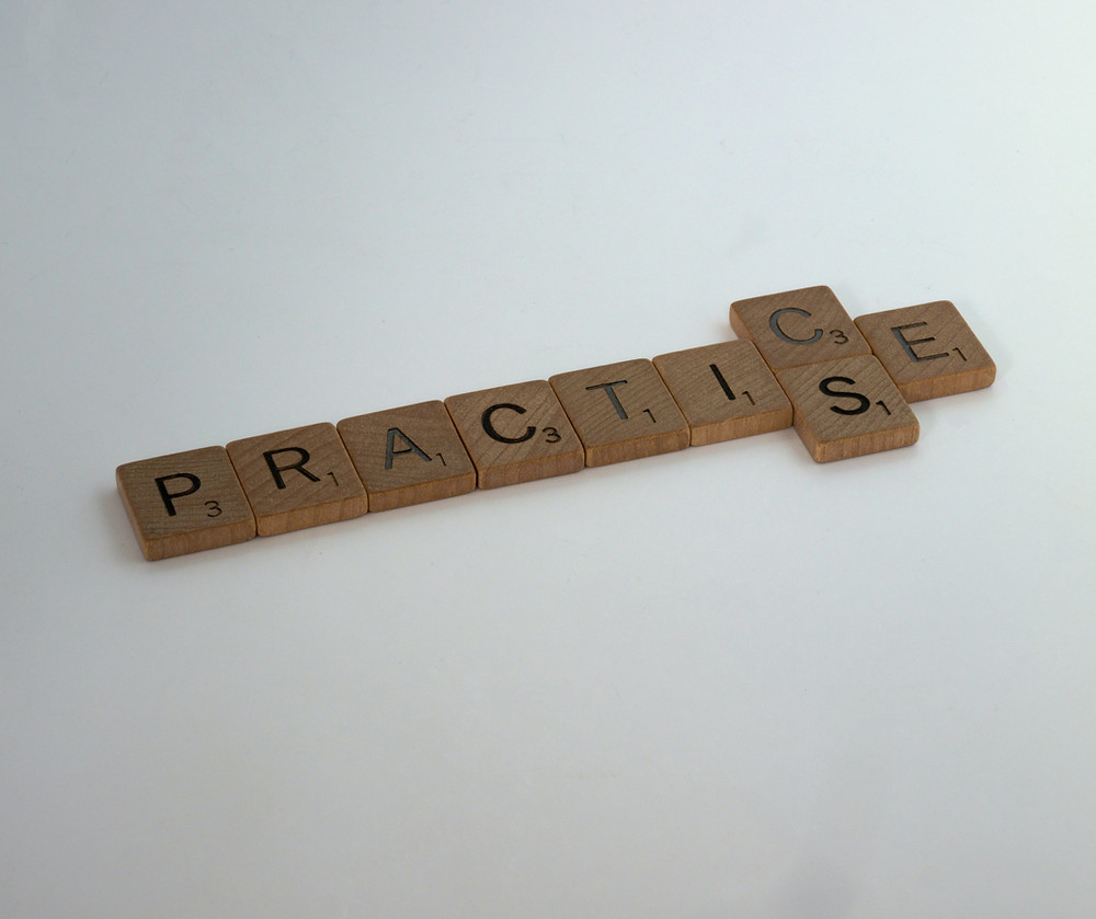 practice spelled out in scrabble letters