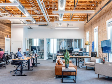 office space with commercial carpet