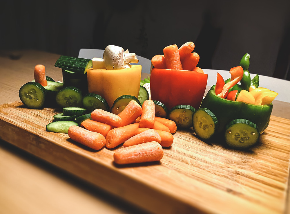 train made from vegetables.