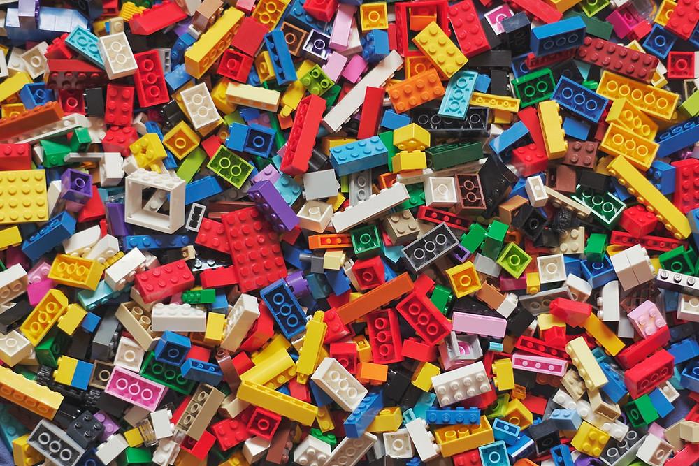 large pile of unassembled legos