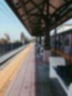 Rail station platform awaiting train
