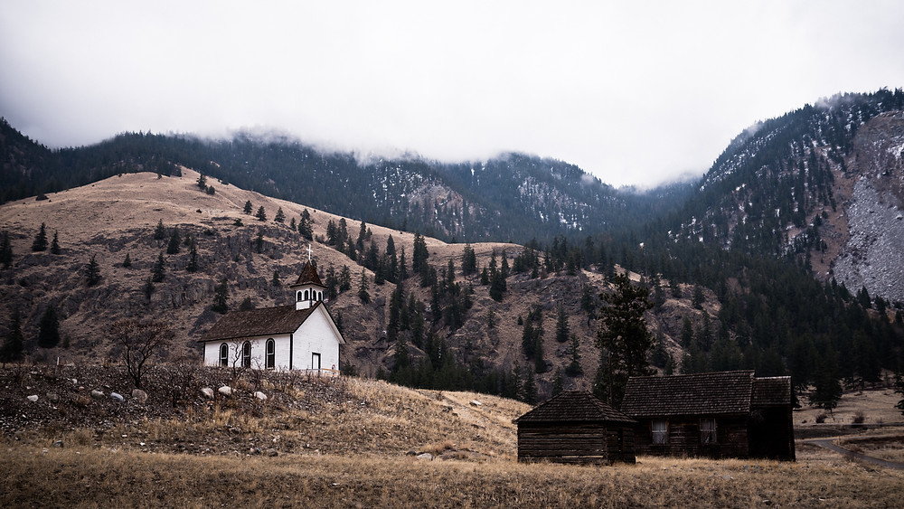 little white church in the mountains