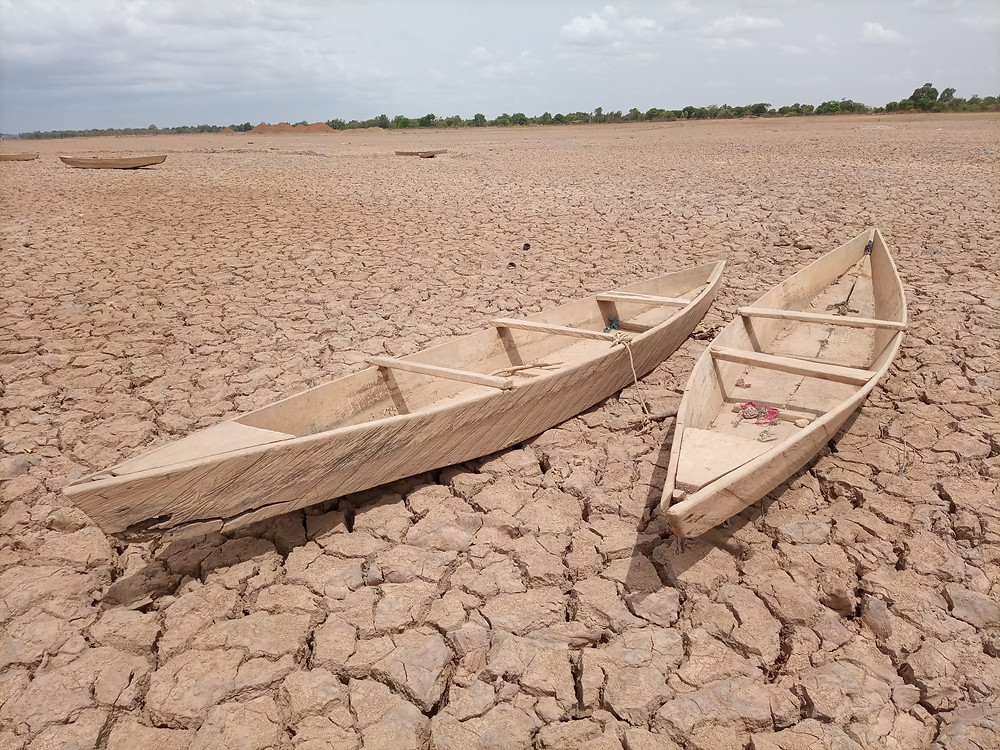 wooden boats on a dry land