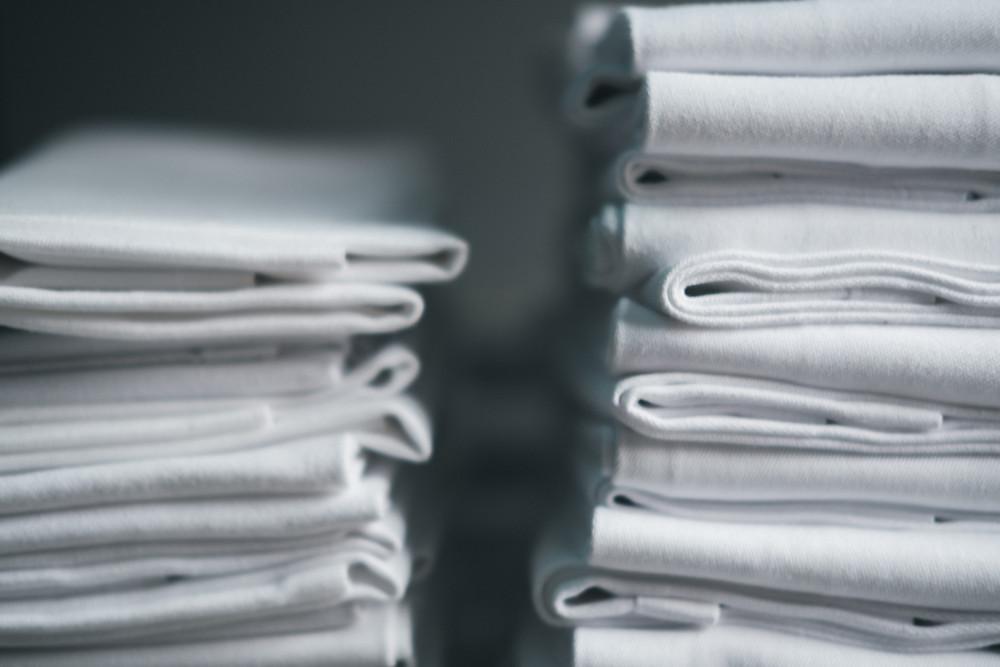 White linens neatly folded