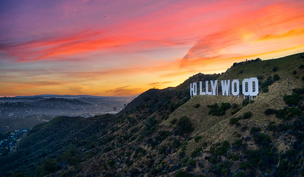 View of the Hollywood sign during a gorgeous sunset