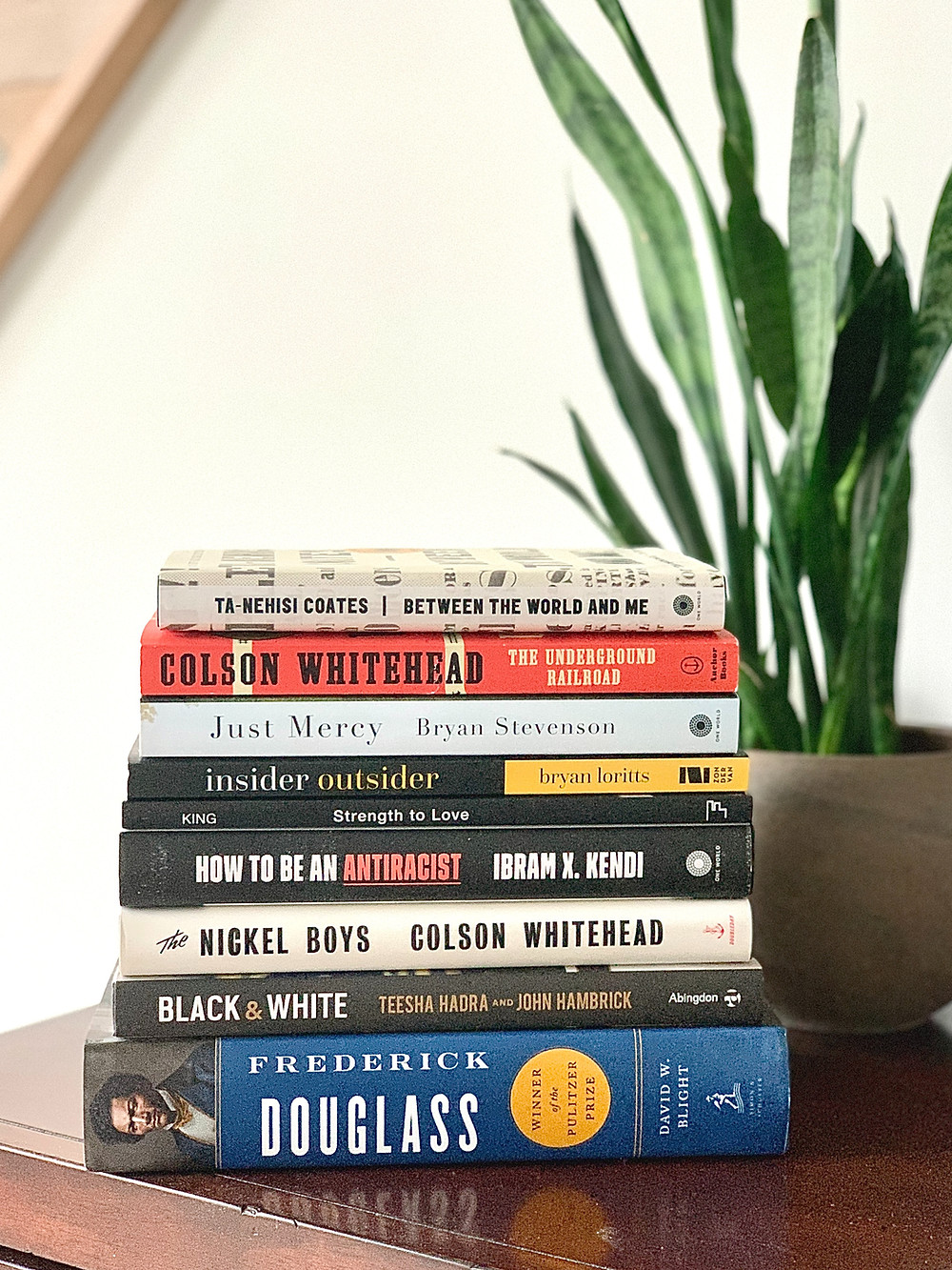 Stack of books about racism