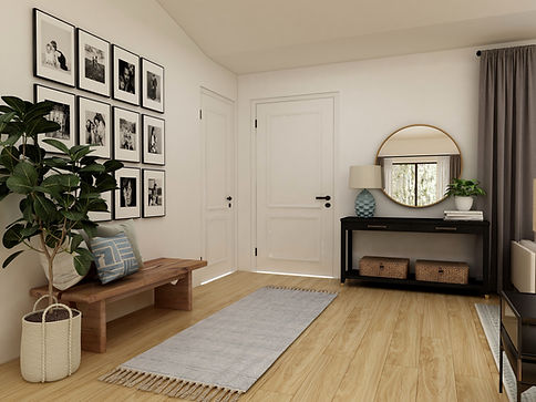 Entryway with gallery wall and bench