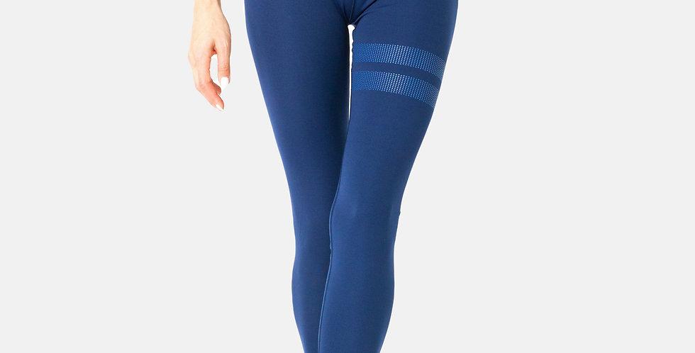 Navy Blue Striped Leggings