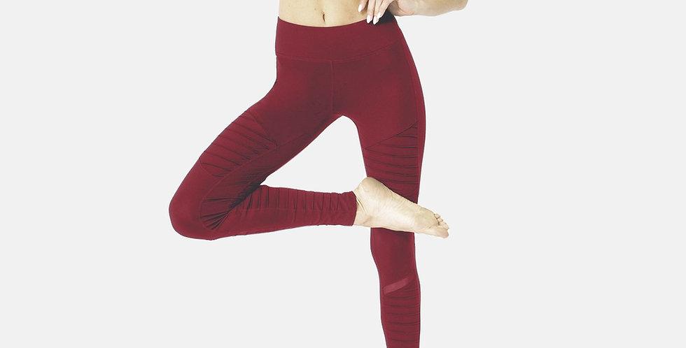 Red Ribbed Leggings